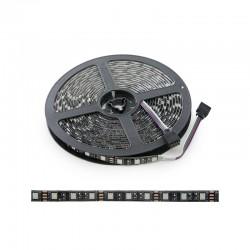 Tira LED 300 X RGB SMD5050 12VDC IP65 Pcb Negro x 5M