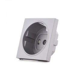 Cazoleta Panasonic Novella Toma Corriente Tt Lateral, Plata, (Compatible Mecanismo Karre)