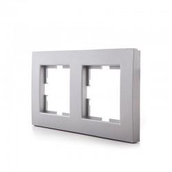Marco Panasonic Novella 2 Elementos Horizontal/Vertical , Tecnopolímero, Plata (Compatible Mecanismo Karre)