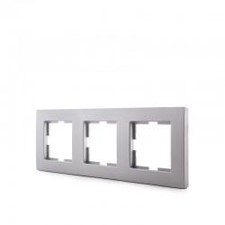 Marco Panasonic Novella 3 Elementos Horizontal-Vertical , Tecnopolímero, Plata (Compatible Mecanismo Karre)