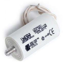 CONDENSADOR PLASTICO 8 Uf 250Vac 10% 50/60Hz Hilos 200mm