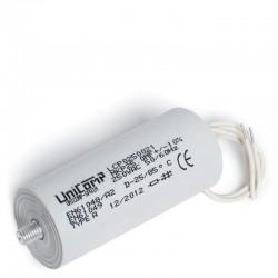 CONDENSADOR PLASTICO 25 Uf 250Vac 10% 50/60Hz Hilos 200mm