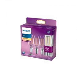 Pack 3 Bombilla LED Philips E14 B35  4.3W 470Lm 2700K [PH-929001889759]