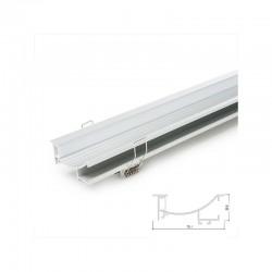 Perfíl Aluminio para Tira LED Instalación Escaleras - Difusor Opal  x 1M